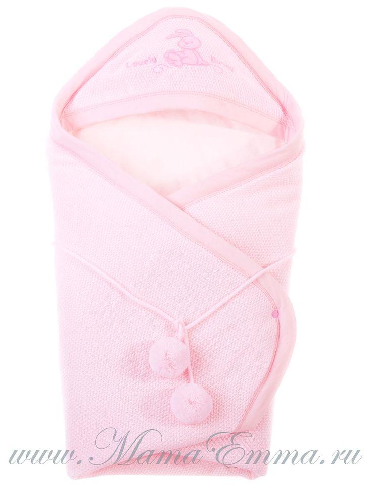 Вязаный конверт на выписку для новорожденных девочек розовый Карапузик купить…