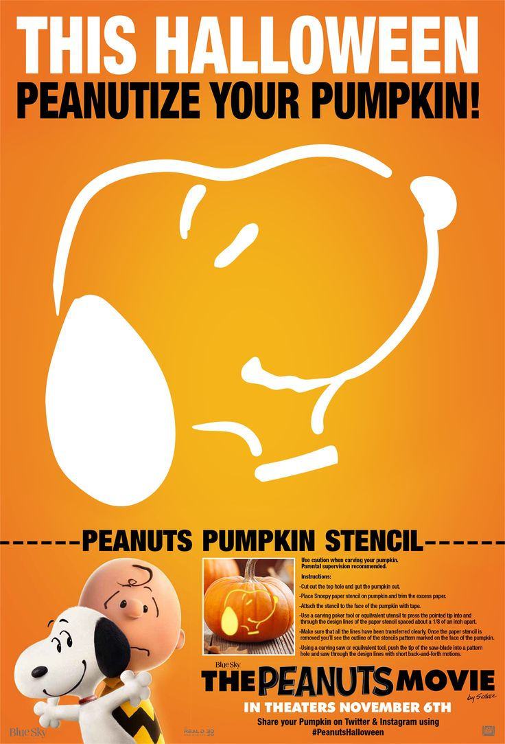 Do you love Snoopy? It's scary how fun this Peanuts Movie pumpkin carving stencil is, and it's perfect for kids! Pin your own DIY Peanuts Halloween creations.