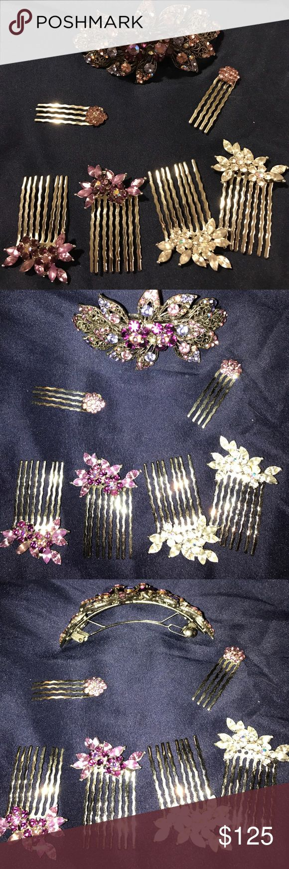 SoHo Style hair clips set of 7 7 gorgeous hair pieces from SoHo Style. Worn 2 times with fake hair, still gorgeous, kept in a silk pouch waiting to go home with you! SoHo Style Accessories Hair Accessories