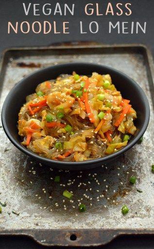 Vegan Glass Noodle Lo Mein - 4 Vegan Low Fat Recipes (Starch Solution / HCLF) - Rich Bitch Cooking Blog