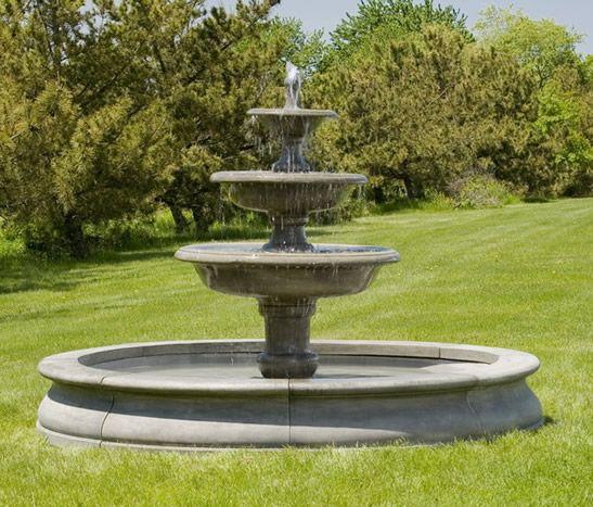 Newport Fountain reminds me of a three tier cake for my garden.  $5500 at Birdsall & Co.   http://www.birdsallgarden.com/cast-stone-fountains