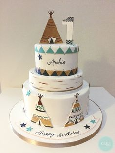 Teepee 1st Birthday Cake by Cake Bites