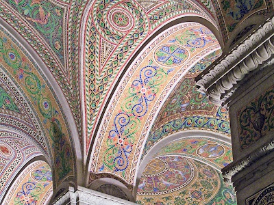 Mosaics on arch, Cathedral Basilica of Saint Louis - stunning! contains 41.5 million glass tesserae pieces in more than 7,000 colors. Covering 83,000 square feet (7,700 m2), it is one of the largest mosaic collections in the world.: Mosaics Art, Saint Louis, Louis Cathedrals, St. Louis, Ladies Chapel, Cathedrals Basilica, Catholic Church, Architecture Mosaics, Louisiana Women