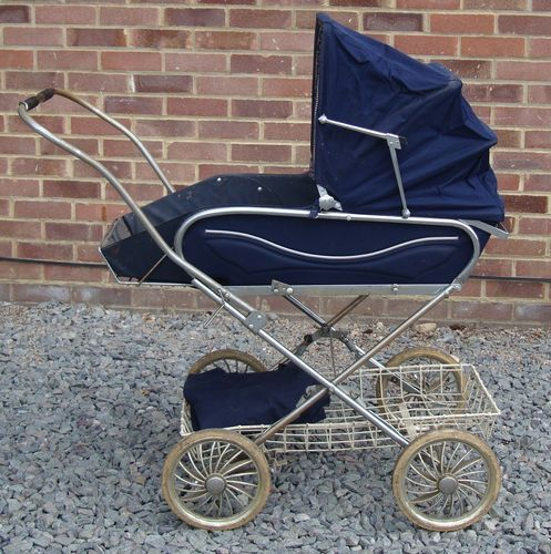 1970's Mothercare children's pram, navy coloured. This is whaty darling Jean pushed me around in :)