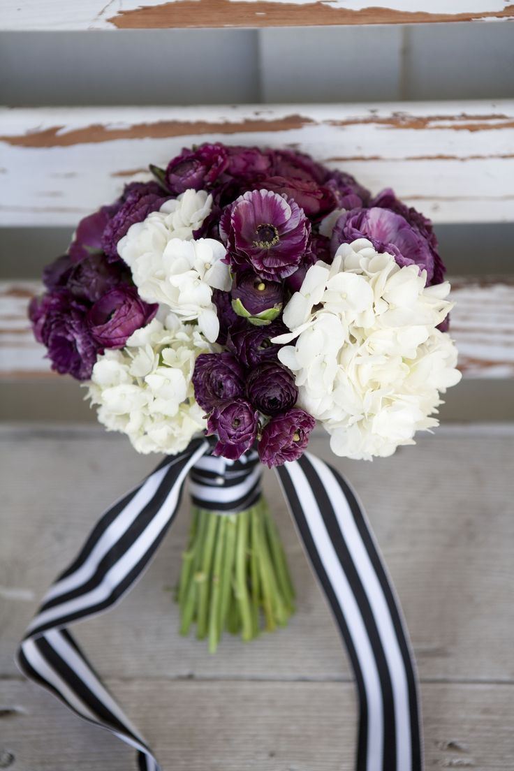 Deep Plum And Cream Bridal Bouquet With Black And White