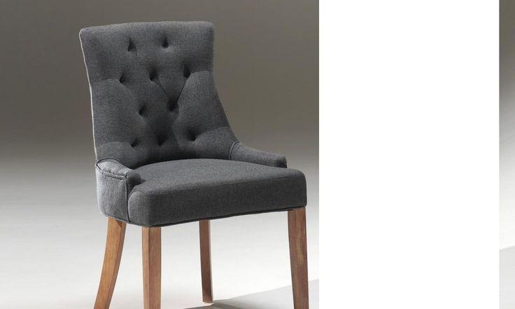 Chaise capitonnée en tissu ARINA, coloris gris anthracite