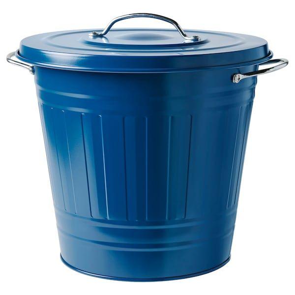 knodd poubelle avec couvercle bleu