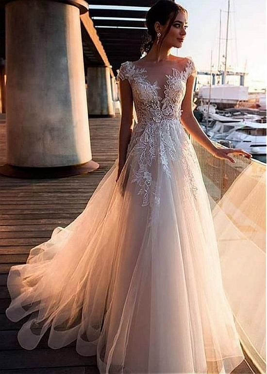Magbridal Splendid Tulle Bateau Neckline A-line Wedding Dresses With Beaded Lace…
