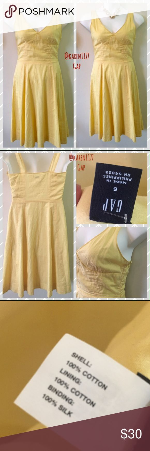 Just In💛 GAP Yellow empire waist Dress Beautiful 100% Cotton and Silk binding material. V neckline, zipper on the side. Fully lined. Stunning A line skirt, gives a very classic look. Great to dress up.✨Necklace not included, but available in another listing✨ GAP Dresses Midi