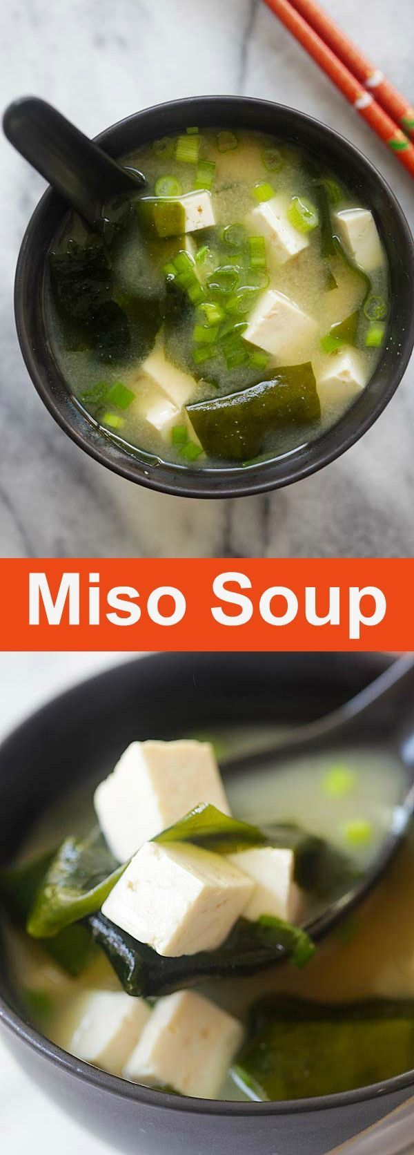 Easy Miso Soup – quick miso soup recipe with tofu and seaweed. Miso soup is hearty, delicious, healthy and takes 15 minutes to make | http://rasamalaysia.com