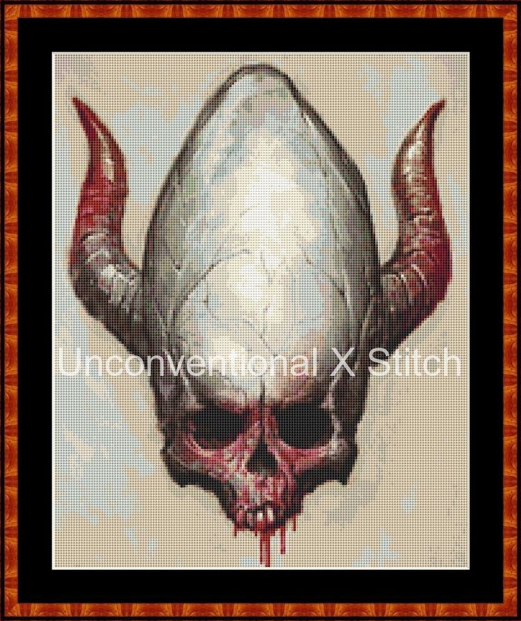 Demon Skull counted cross stitch pattern - Demonic Skull - Licensed Marius 'noistromo' Siergiejew by UnconventionalX on Etsy