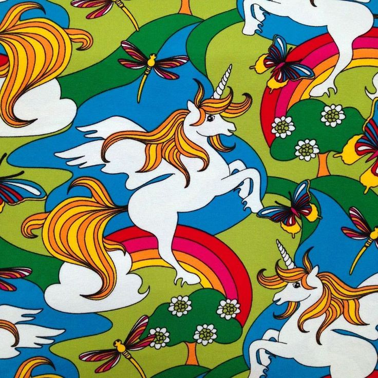 This fabric features the glorious trifecta of golden-locked pegasus unicorns, jewel tone dragonflies, and butterflies flying high above rainbows an...