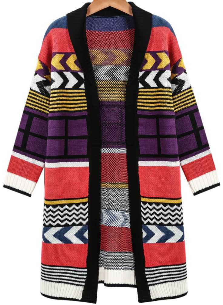 Purple Red Long Sleeve Striped Knit Cardigan 25.00