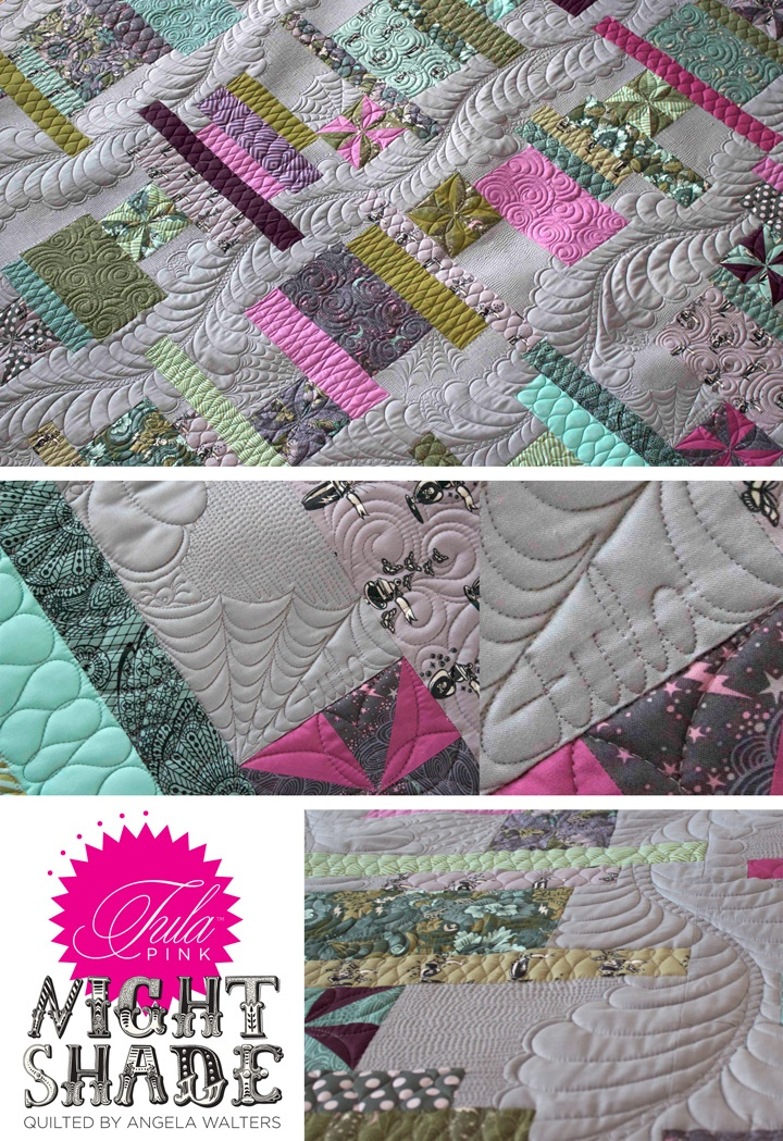 Angela Walters + Tula PinkAmazing Quilt, Beautiful Quilts, Http Tulapink Com Blog, Pink Nightshade, Poetry Pink, Pink Quilt, Machine Quilting, Nightshade Stacked, Angela Walter