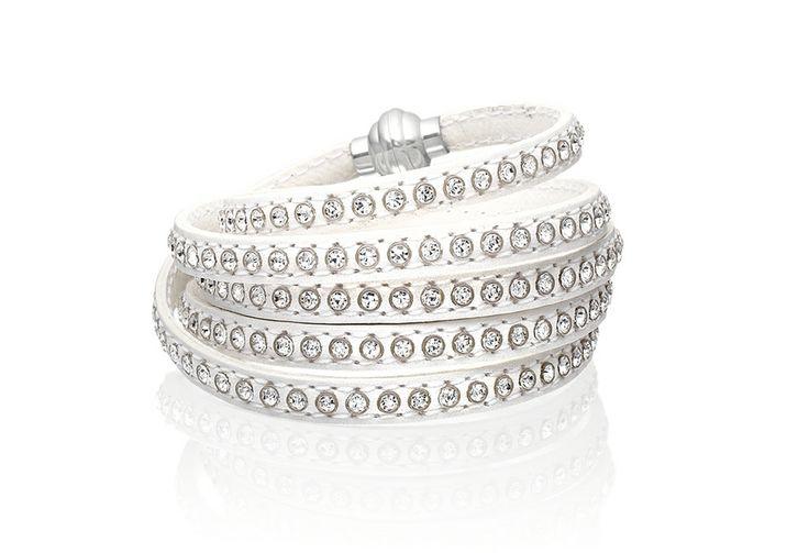 Arezzo bracelet in white leather with white zirconia stones, 90 cm