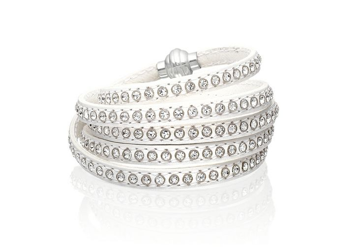 Arezzo bracelet in white leather with white zirconia stones, 90 cm