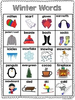Winter word bank that students can use to help increase independence during Writer's Workshop.  Black and white and color version included in download.