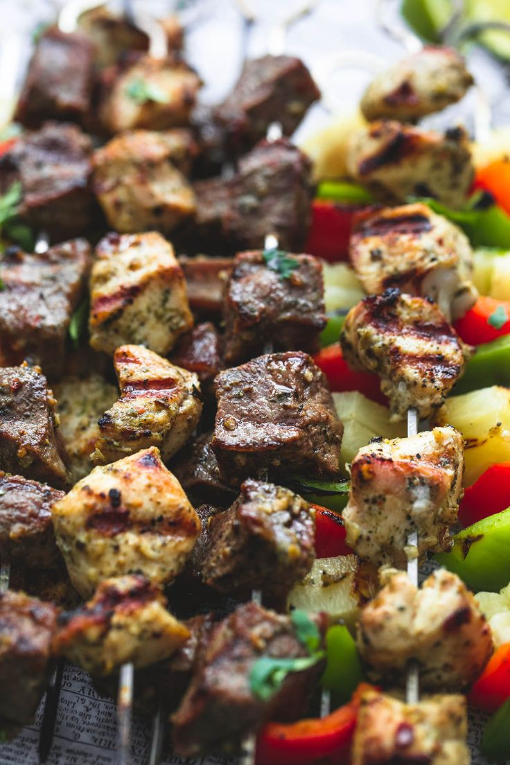 Juicy and tender grilled Brazilian steak & chicken kabobs with peppers and pineapple have the most incredible flavors and are easy to make.