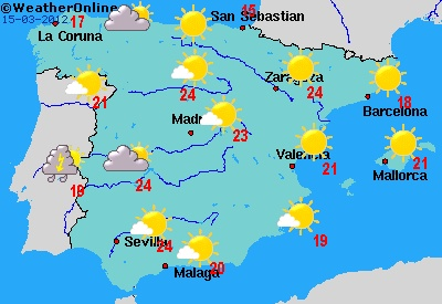 Weather in Spain today