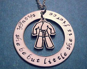 """Martial Arts, Brazilian Jiu Jitsu, BJJ, Karate Necklace, """"Though She Be But Little, She is Fierce"""""""