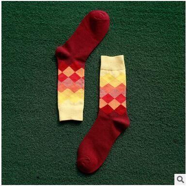 2017 10 colors Men's socks British Style Plaid calcetines Gradient Color brand elite long cotton for happy men wholesale socks
