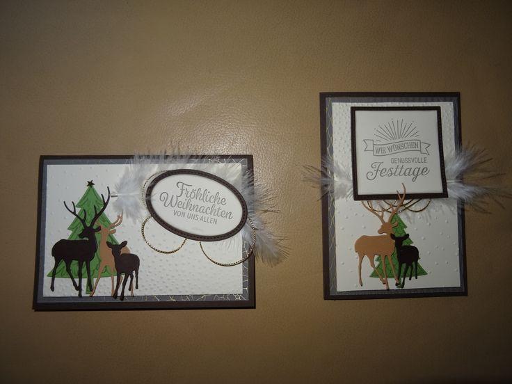 Stampin up SU Karte Weihnachten Weihnachtskarte vanille schokobraun gold Weihnacht Rehe Hirsche Dasher Framelits Federn Tannenbäume Bäume Wald Reh