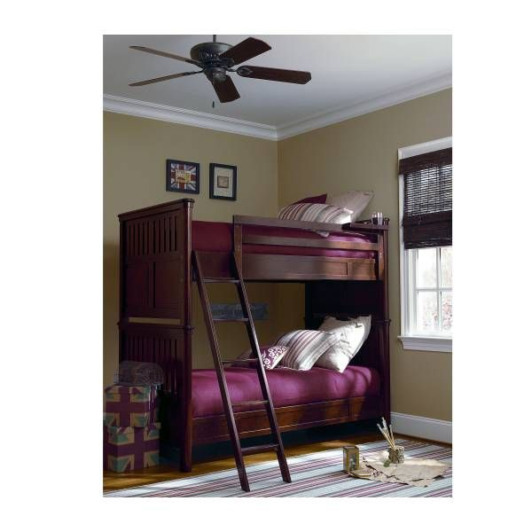 Rough House Twin Over Twin Bunk Bed with Marsala Red bedding.