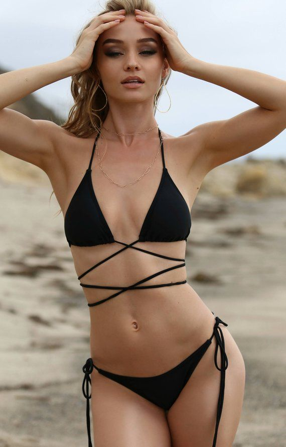 0b78b041c Black Side Tie Bottom Bikini - Tassel Embellished Side Straps - Fuller  Coverage - Lined - High Quali