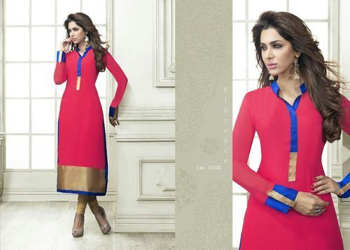 """Designer Wear Printed Georgette Kurti with American Crepe lining in Pink color. Length: 45"""" and Size: L, XL."""