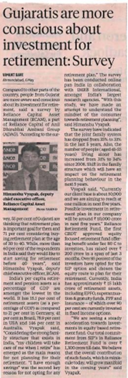 Compared to other parts of the country, people from Gujarat are more aware and conscious about its #investment for #retirement, said a survey by Reliance Capital Asset Management (RCAM), https://www.reliancemutual.com/FundsAndPerformance/Pages/Reliance-Retirement-Fund-Income-Generation-Scheme.aspx