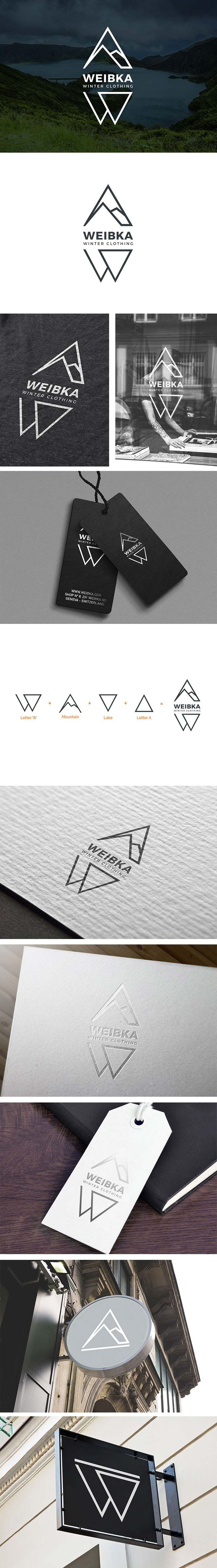 Weibka Winter Clothing Logo Design, Fashion & Sport Brand Identity | Letter W, Letter A, Geometric, Triangle, mountain, lake, mark, branding | Weibka, Geneva Switzerland | Celine Le Duigou, Freelance Graphic Designer, Perth Australia