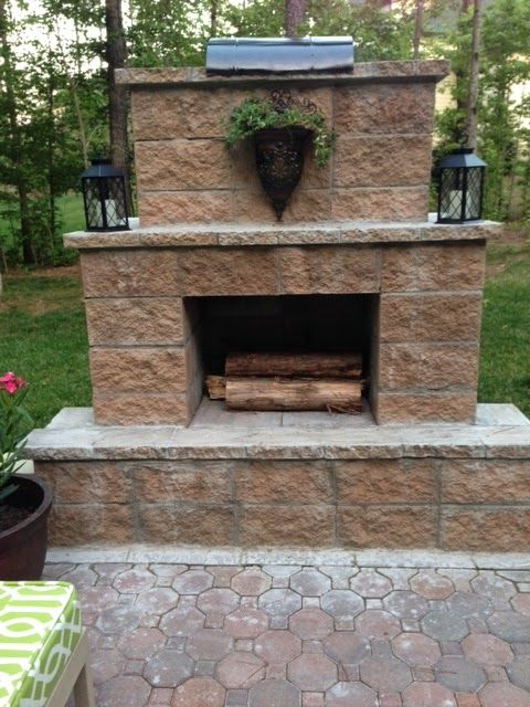 DIY stone outdoor fireplace for under $200 | LIfe in the Barbie Dream House Blog