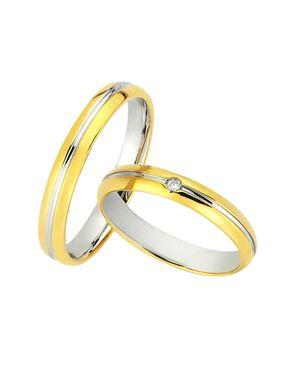 Βέρες BONISE' δίχρωμες χρυσός & λευκόχρυσος Κ9 με Διαμάντι
