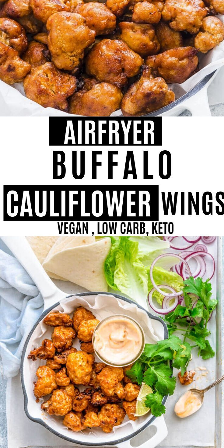 Air fryer cauliflower wings buffalo cauliflower wings