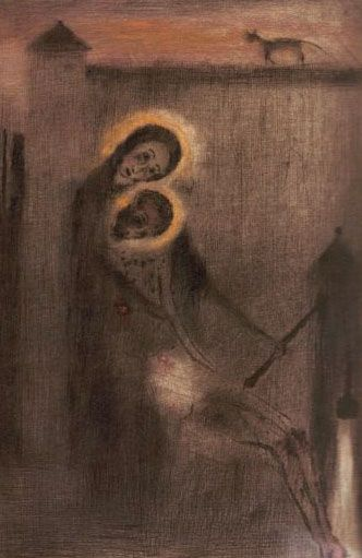 Bohuslav Reynek - Pieta at the well (end of 1950's) #graphics #painting #art #Czechia