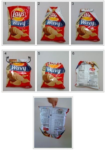 Как надёжно закрыть пачку чипсов без подручный средств.