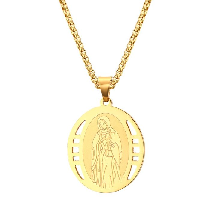 Mens Miraculous Virgin Mary Pendant Necklace for Men Woman Yellow Gold-color Jesus Pieces Christian Jewelry with 24inch Chokers #Affiliate