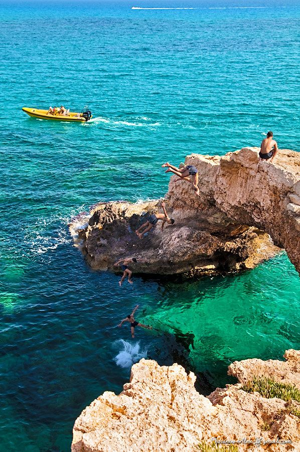 Rock diving in Agia Napa, Cyprus