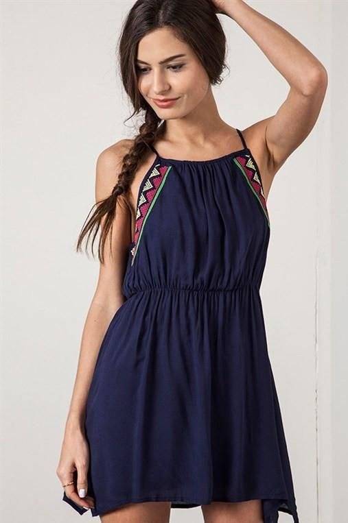 Trunk Up Navy Frock Dress at trunk-up.com! A sweet, lightweight dress with gorgeous tribal embroidery. Great for the warm weather!