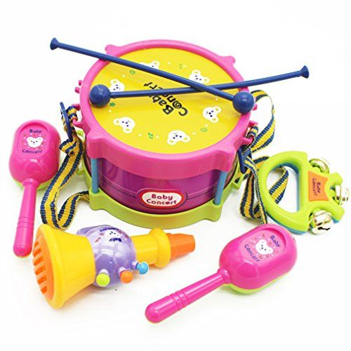 MICHLEY 5pcs/set Simulation Tambourine for Kids Pretend Play Toys ABS Material