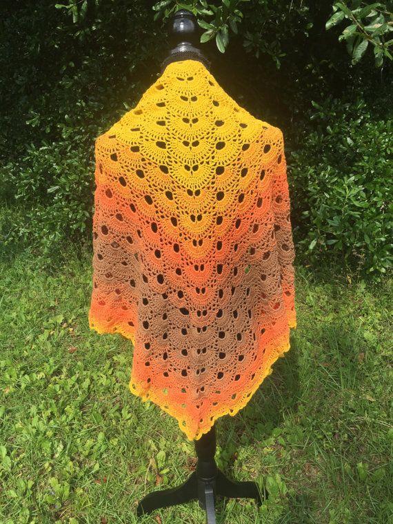 Beautiful handmade wrap in orange and brown tones