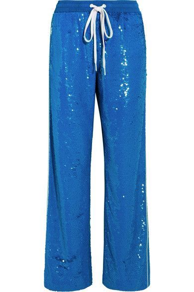 Ashish - Sequined Cotton Track Pants - Bright blue