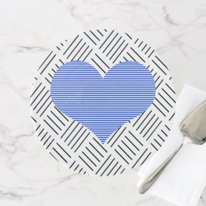 Blue heart - Abstract geometric pattern - black. Cake Stand - pattern sample design template diy cyo customize
