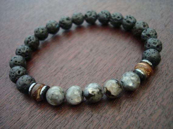 औं 5th Element Yoga - Men's Black Moonstone Mala Bracelet