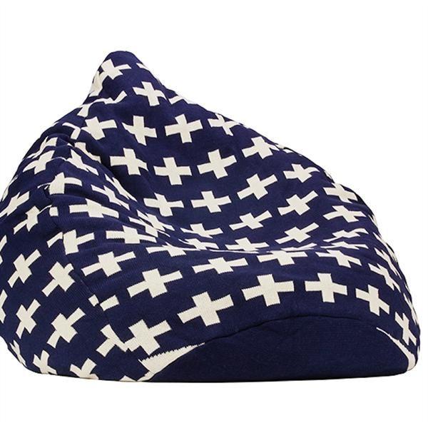 Knitted Bean Bag - Blue Cross
