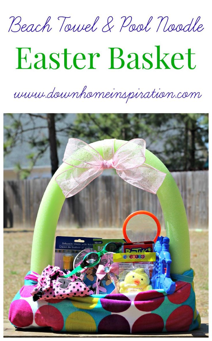 Make a fun and unique Easter basket out of a beach towel and pool noodle.