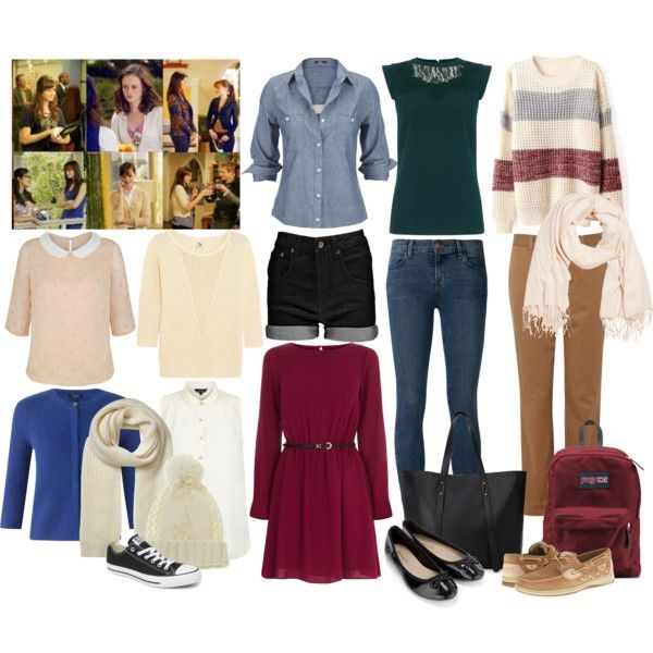 Rory Gilmore's Style: Effortless fashion by megandeer on Polyvore featuring polyvore, fashion, style, Oasis, Silver Jeans Co., Poppy Lux, L'Agence, Jigsaw, J Brand, Lands' End, Boohoo, Accessorize, Sperry Top-Sider, Converse, JanSport, Forever 21, Whistles, Nine West, GetTheLook, lookalike, dresslike, gilmoregirls and alexisbledel