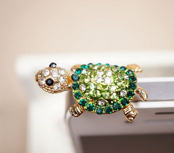 bling green rhinestone cute little turtle dust plug,iphone dust plug,earphone plugs,phone charm cell phone charm on Etsy, $5.90