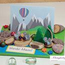 Mäuse 3D Karte für Gutschein oder Geldgeschenke hübsch gestaltet mit Mäusen und Bergen, zum Thema: Wandern, Bergsteigen, Klettern, Urlaub in den Bergen, Ballonfahrt, Ruhestand usw. Gutschein oder...