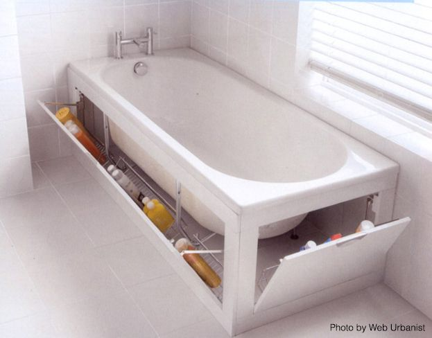 Small Bath Storage - Tub StorageRumor has it that if you install a bathtub in your small bathroom, you'll lose a lot of storage space. Well, that's not completely true. In fact, you can find some serious storage potential hidden beneath your bathtub. One of the most popular solutions is to incorporate your bathtub with a pull-down drawer system. With this storage system, you can immediately turn the wasted space into a useful place, where you can store bath necessities.